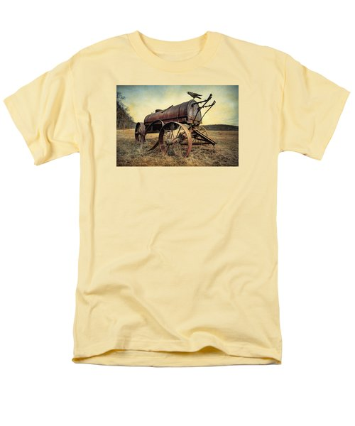 Men's T-Shirt  (Regular Fit) featuring the photograph On The Water Wagon - Agricultural Relic by Gary Heller