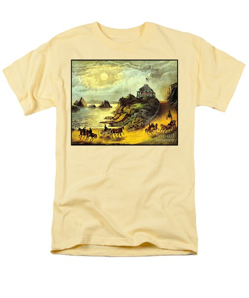Men's T-Shirt  (Regular Fit) featuring the painting Original San Francisco Cliff House Circa 1865 by Peter Gumaer Ogden