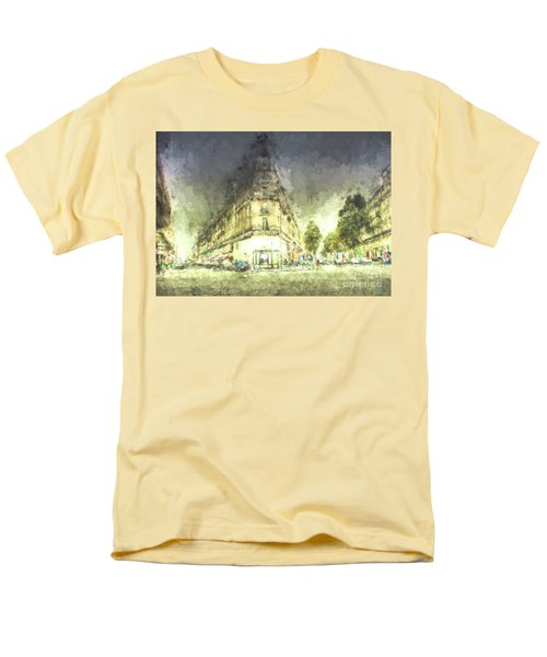 Men's T-Shirt  (Regular Fit) featuring the mixed media Paris Streets by Jim  Hatch