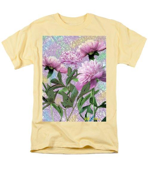 Men's T-Shirt  (Regular Fit) featuring the digital art Peonies 6 by John Selmer Sr