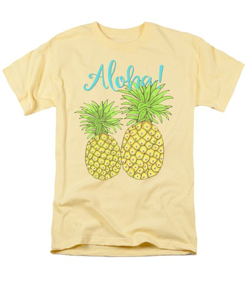 Pineapple Aloha Tropical Fruit Of Welcome Hawaii Men's T-Shirt  (Regular Fit) by Tina Lavoie