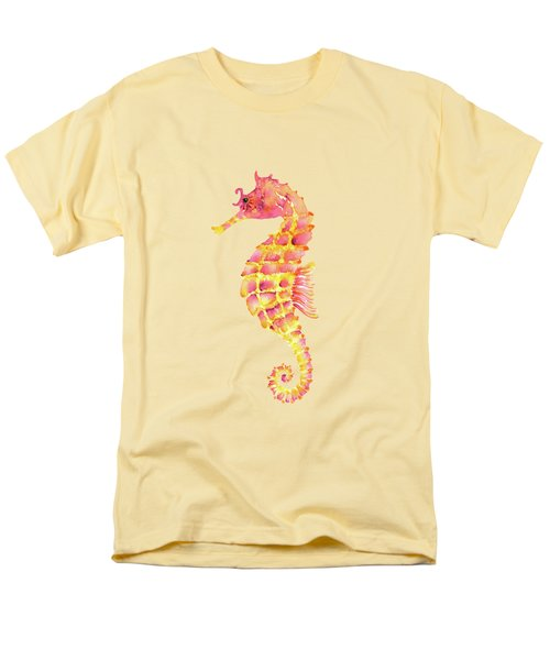 Pink Yellow Seahorse Men's T-Shirt  (Regular Fit) by Amy Kirkpatrick