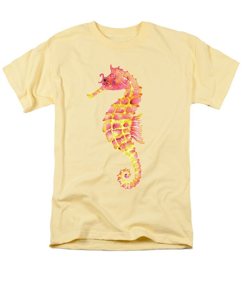 Pink Yellow Seahorse - Square Men's T-Shirt  (Regular Fit) by Amy Kirkpatrick