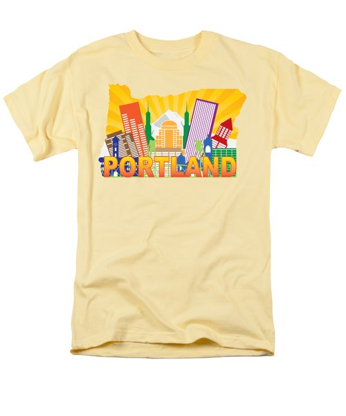 Portland Oregon Skyline In State Map Men's T-Shirt  (Regular Fit) by Jit Lim