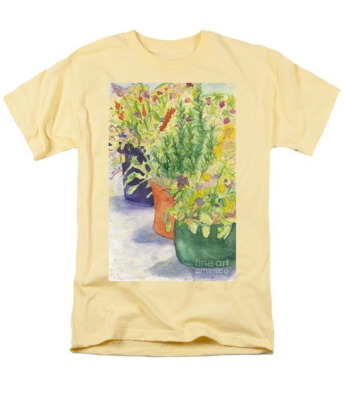 Men's T-Shirt  (Regular Fit) featuring the painting Potted Beauties  by Vicki  Housel