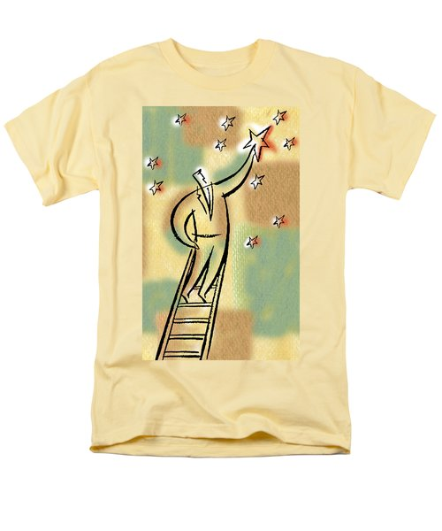 Men's T-Shirt  (Regular Fit) featuring the painting Reaching For The Star by Leon Zernitsky