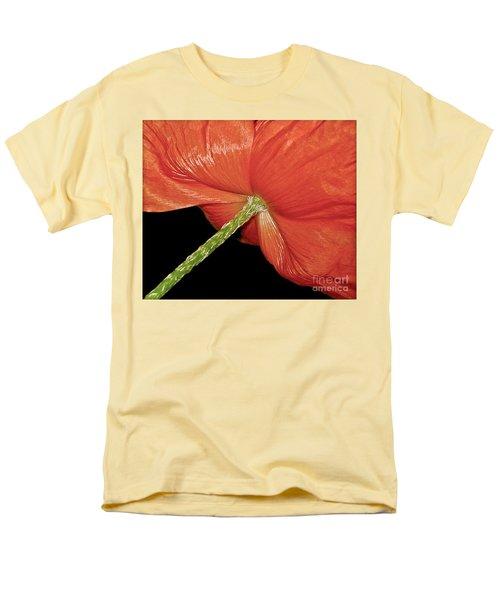 Red Poppy Flower On Black Background Men's T-Shirt  (Regular Fit) by Carol F Austin