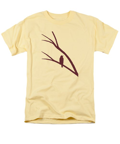 Men's T-Shirt  (Regular Fit) featuring the mixed media Rustic Bird Art Dark Red Bird Silhouette by Christina Rollo