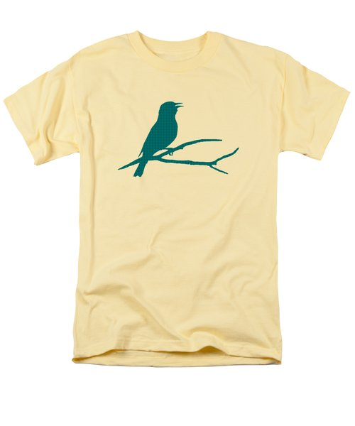Men's T-Shirt  (Regular Fit) featuring the mixed media Rustic Green Bird Silhouette by Christina Rollo