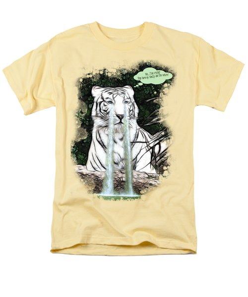 Sad White Tiger Typography Men's T-Shirt  (Regular Fit) by Georgeta Blanaru