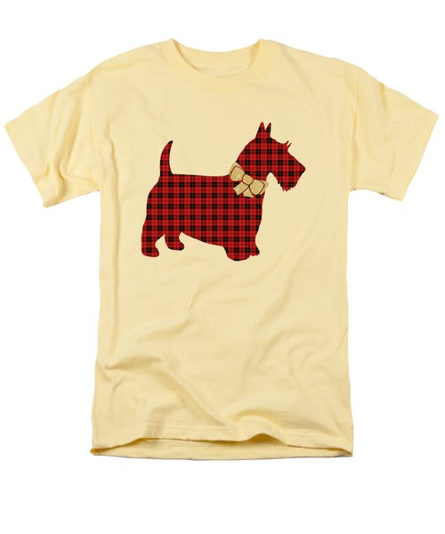 Men's T-Shirt  (Regular Fit) featuring the mixed media Scottie Dog Plaid by Christina Rollo