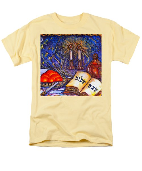 Men's T-Shirt  (Regular Fit) featuring the painting Shabbat Shalom by Rae Chichilnitsky
