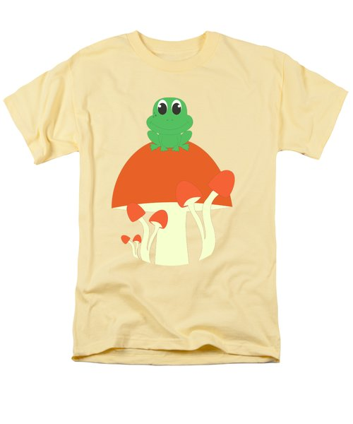 Small Frog Sitting On A Mushroom  Men's T-Shirt  (Regular Fit) by Kourai