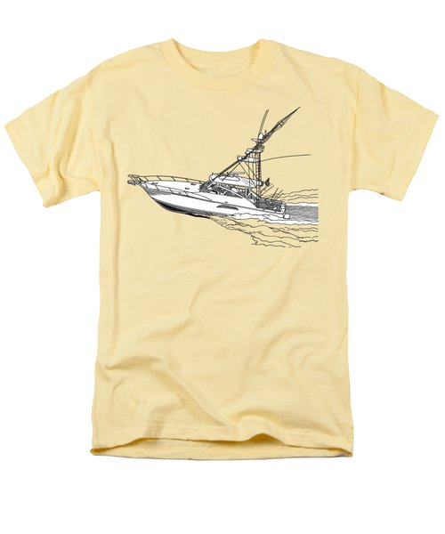 Men's T-Shirt  (Regular Fit) featuring the drawing Sportfish Yacht Custom Tee Shirt by Jack Pumphrey
