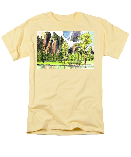 Men's T-Shirt  (Regular Fit) featuring the painting Spring In Yosemite by Terry Banderas