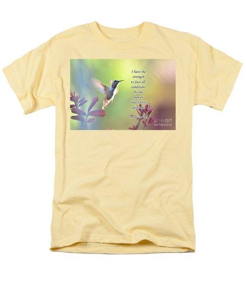 Strength Through Christ Men's T-Shirt  (Regular Fit) by Debby Pueschel