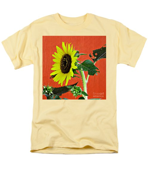 Men's T-Shirt  (Regular Fit) featuring the photograph Sunflower On Red 2 by Sarah Loft