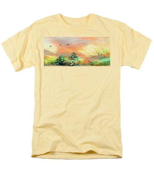 Men's T-Shirt  (Regular Fit) featuring the painting Sunset At Winter Wonderland by Mike Breau