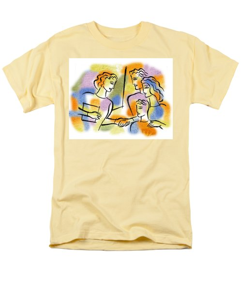 Men's T-Shirt  (Regular Fit) featuring the painting Support And Family Assistance by Leon Zernitsky