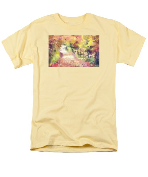 Men's T-Shirt  (Regular Fit) featuring the painting The Path In Autumn by Wayne Pascall