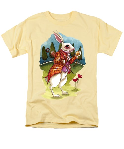 The White Rabbit Is Late Men's T-Shirt  (Regular Fit) by Lucia Stewart