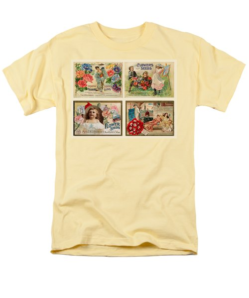 Vintage Flower Seed Packets Men's T-Shirt  (Regular Fit) by Peggy Collins