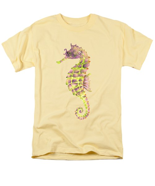 Violet Green Seahorse - Square Men's T-Shirt  (Regular Fit) by Amy Kirkpatrick