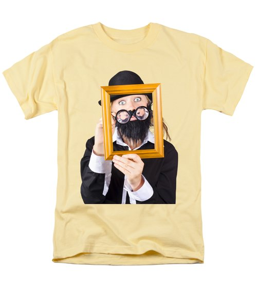 Men's T-Shirt  (Regular Fit) featuring the photograph Woman With Empty Picture Frame by Jorgo Photography - Wall Art Gallery