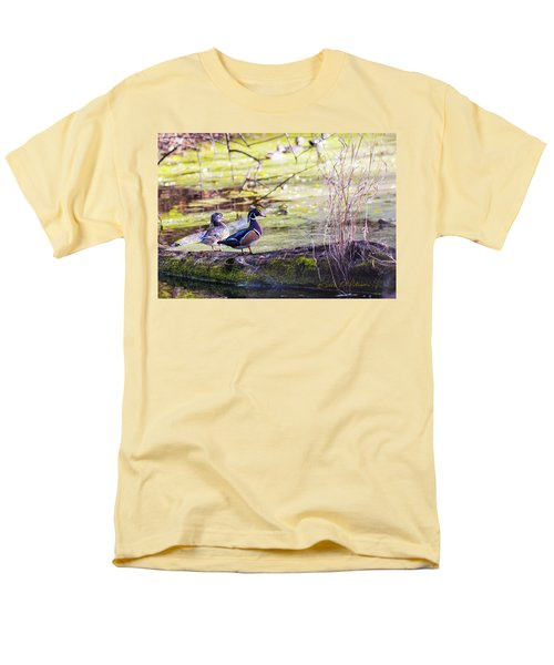 Wood Duck Couple Men's T-Shirt  (Regular Fit) by Edward Peterson