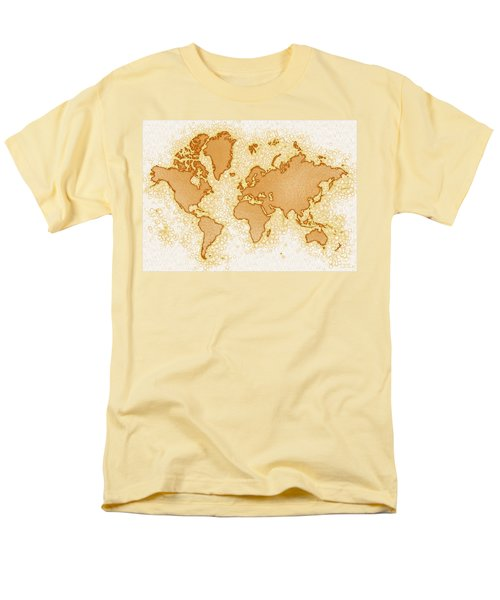 World Map Airy In Brown And White Men's T-Shirt  (Regular Fit) by Eleven Corners