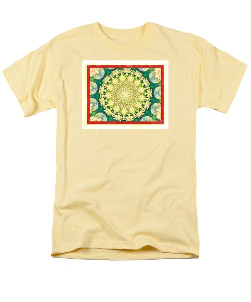 Yellow Floral Medallion Men's T-Shirt  (Regular Fit) by Shirley Moravec