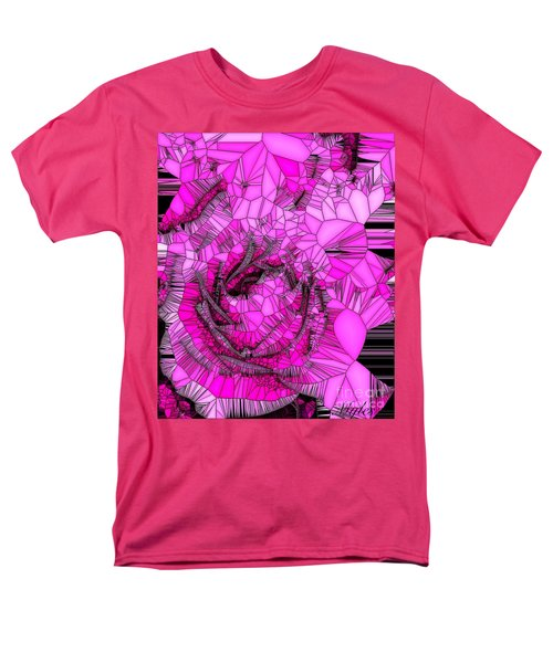 Abstract Pink Rose Mosaic Men's T-Shirt  (Regular Fit) by Saundra Myles