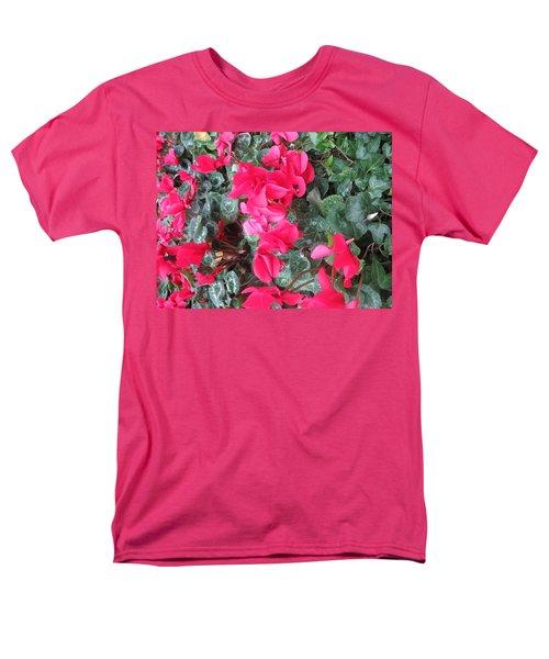 Butterfly Garden Red Exotic Flowers Las Vegas Men's T-Shirt  (Regular Fit) by Navin Joshi