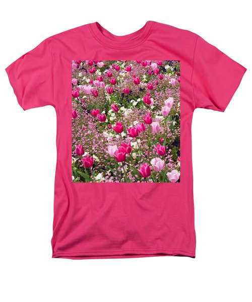 Colorful Pink Tulips And Other Flowers In Spring Men's T-Shirt  (Regular Fit)