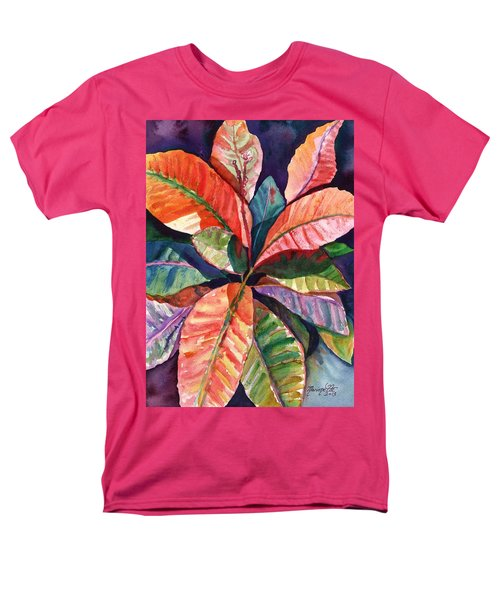 Colorful Tropical Leaves 1 Men's T-Shirt  (Regular Fit) by Marionette Taboniar