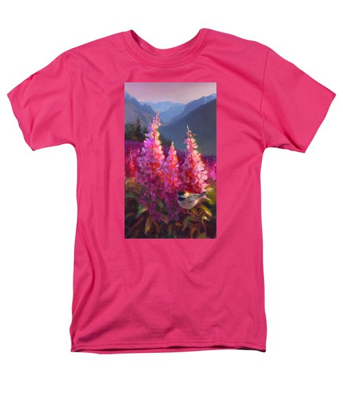 Eagle River Summer Chickadee And Fireweed Alaskan Landscape Men's T-Shirt  (Regular Fit) by Karen Whitworth
