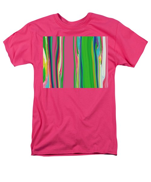 Men's T-Shirt  (Regular Fit) featuring the painting Garden Stripes  C2014 by Paul Ashby