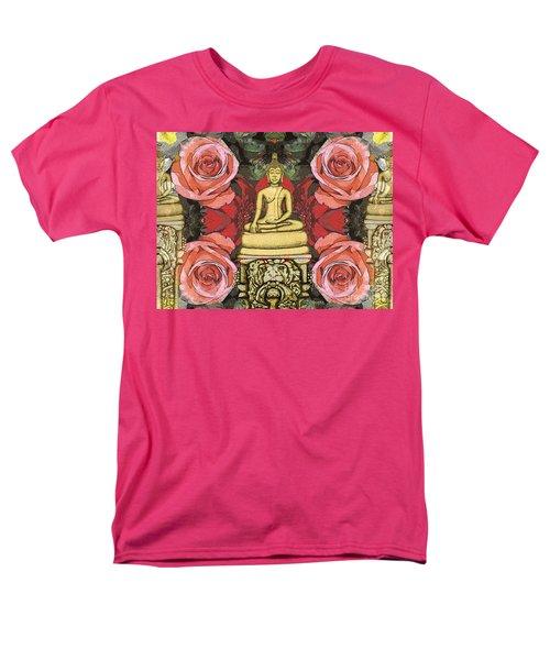 Men's T-Shirt  (Regular Fit) featuring the painting Golden Buddha In The Garden by Joseph J Stevens