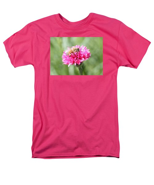 Honeybee On Pink Bachelor's Button Men's T-Shirt  (Regular Fit) by Lucinda VanVleck