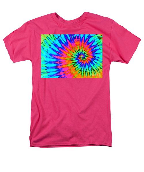 Orange Pink And Blue Tie Dye Spiral Men's T-Shirt  (Regular Fit) by Catherine Sherman