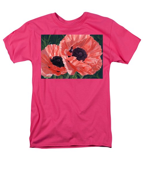 Men's T-Shirt  (Regular Fit) featuring the painting Peachy Poppies by Lynne Reichhart