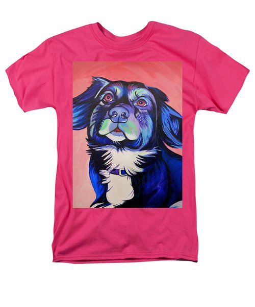Men's T-Shirt  (Regular Fit) featuring the painting Pink And Blue Dog by Joshua Morton