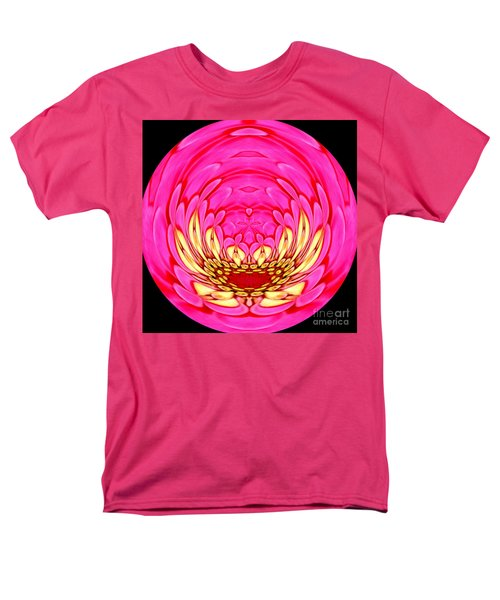 Men's T-Shirt  (Regular Fit) featuring the photograph Pink Zinnia Polar Coordinate 2 by Rose Santuci-Sofranko