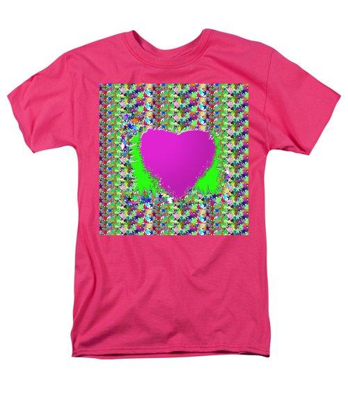 Sensual Pink Heart N Star Studded Background Men's T-Shirt  (Regular Fit) by Navin Joshi