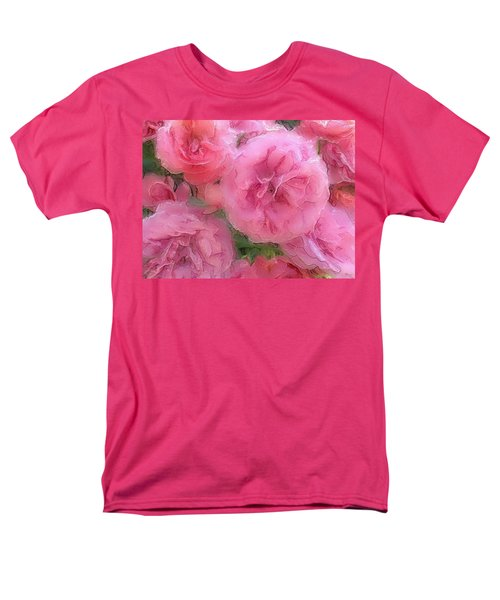 Men's T-Shirt  (Regular Fit) featuring the mixed media Sweet Pink Roses  by Gabriella Weninger - David