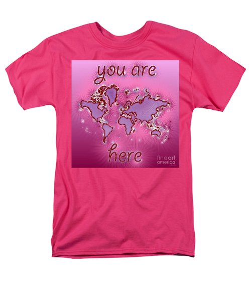 World Map You Are Here Amuza In Purple And Pink Men's T-Shirt  (Regular Fit) by Eleven Corners