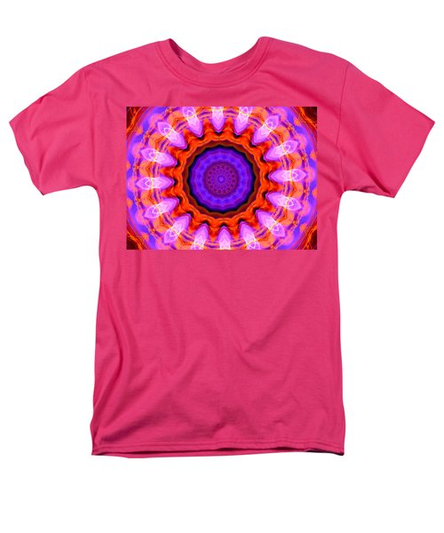Pink 16-petals Kaleidoscope Men's T-Shirt  (Regular Fit) by Ernst Dittmar