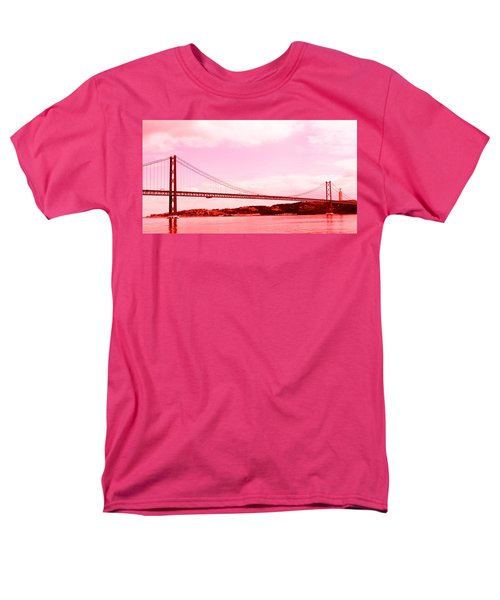 Men's T-Shirt  (Regular Fit) featuring the photograph 25 De Abril Bridge In Crimson by Lorraine Devon Wilke