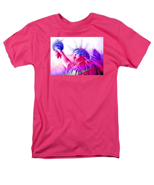 Men's T-Shirt  (Regular Fit) featuring the painting Abstract Statue Of Liberty 7 by J- J- Espinoza