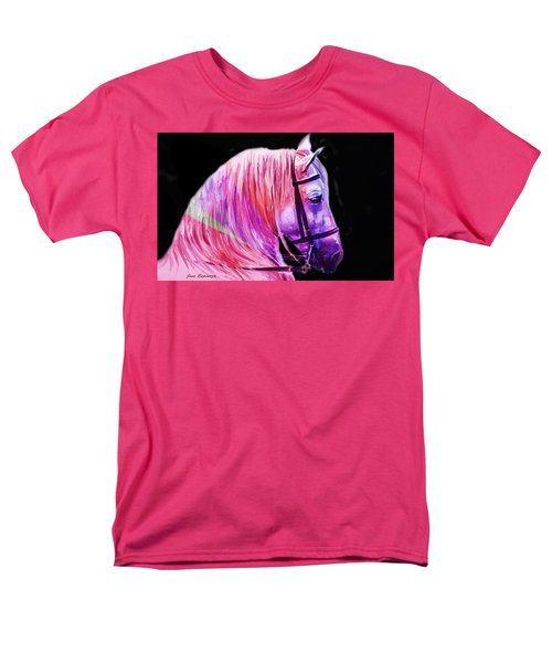 Men's T-Shirt  (Regular Fit) featuring the painting Abstract White Horse 56 by J- J- Espinoza